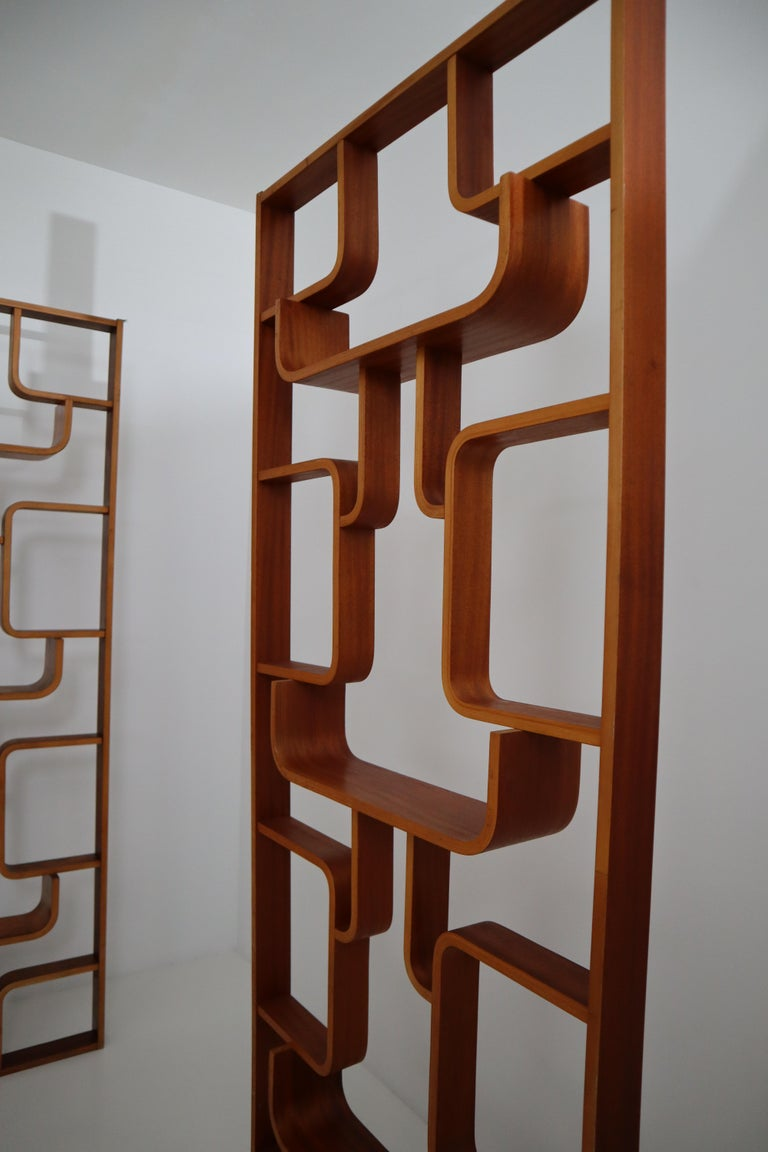 Ash Large Set of Mahogany Color Midcentury Room Dividers in Bentwood, circa 1960s For Sale