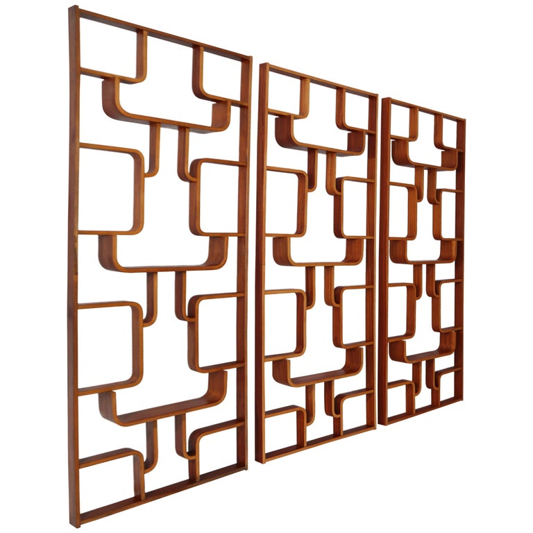 Large Set of Mahogany Color Midcentury Room Dividers in Bentwood, circa 1960s For Sale