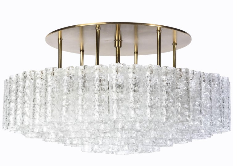 Large Set of Mid-Century Modernist, 1950s Flush Mount Chandelier, Doria Leuchten For Sale 5