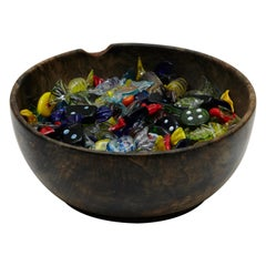 Large Set of Murano Glass Candy Small Sculptures on Olive Wood Bowl, circa 1970