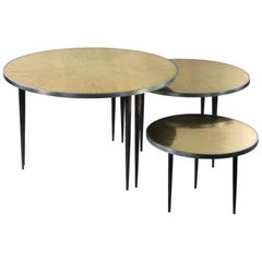 Large Set of 3 Nesting Side Bronze Tables