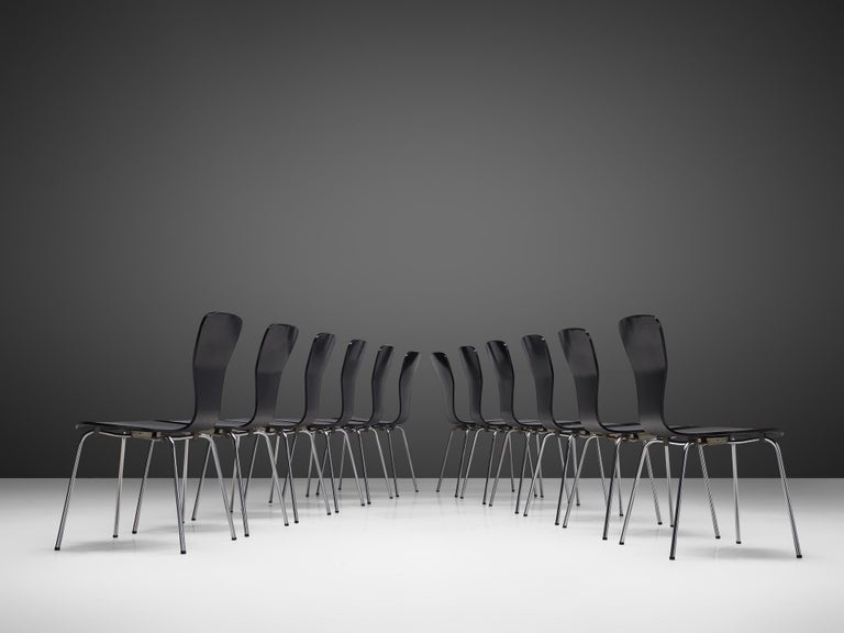 Lacquered Large set of 'Nikke' Dining Chairs by Tapio Wirkkala