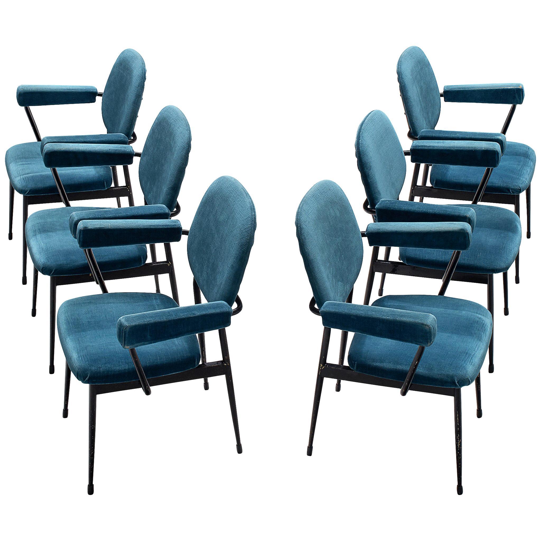 Large Set of Six Blue Velvet Italian Chairs