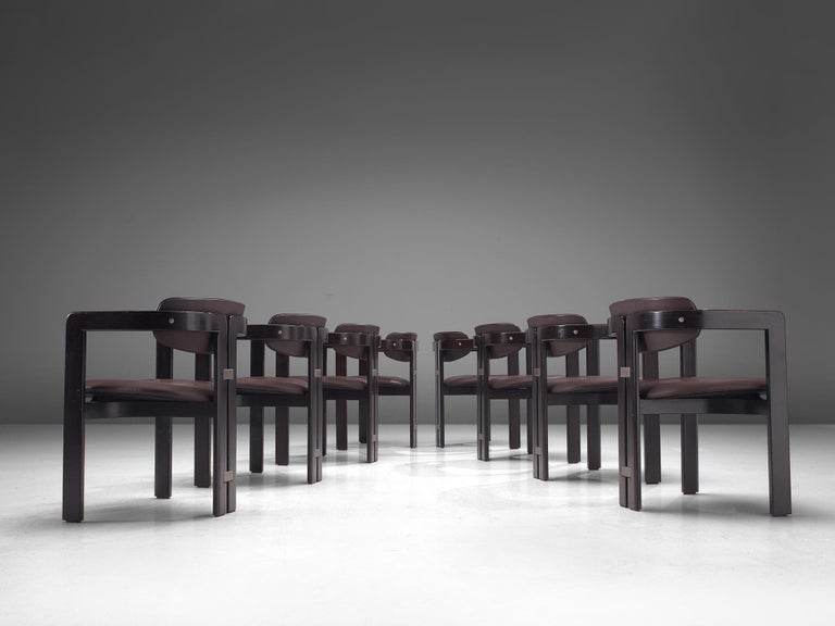 Leather Large Set of Sixteen Customizable 'Pamplona' Chairs by Augusto Savini For Sale