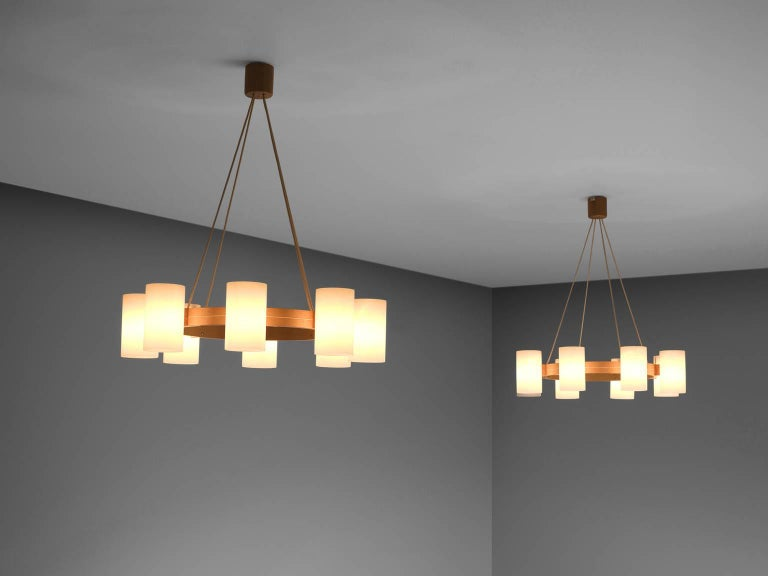 Large Set of Swedish Oak and Opaline Chandeliers In Good Condition For Sale In Waalwijk, NL