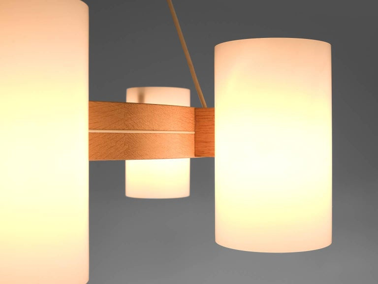 Mid-20th Century Large Set of Swedish Oak and Opaline Chandeliers For Sale