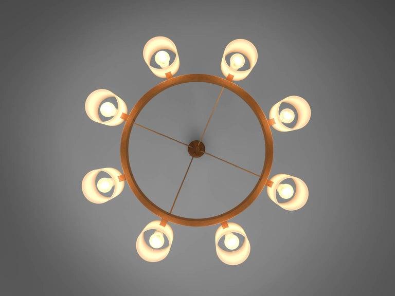 Lucite Large Set of Swedish Oak and Opaline Chandeliers For Sale