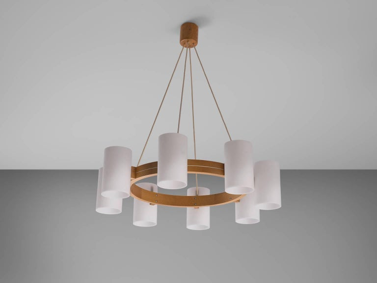 Large Set of Swedish Oak and Opaline Chandeliers For Sale 1