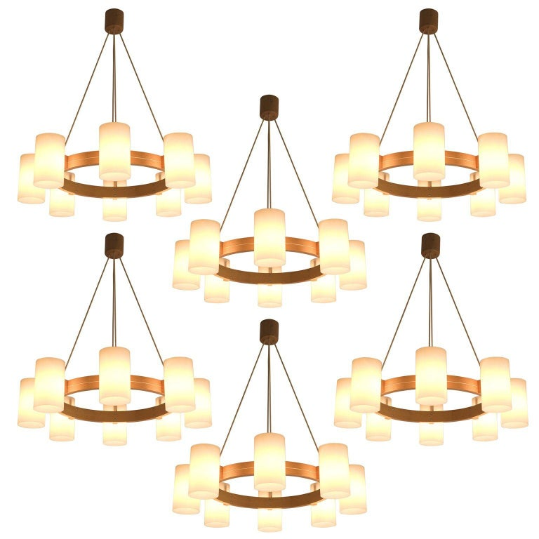 Large Set of Swedish Oak and Opaline Chandeliers For Sale
