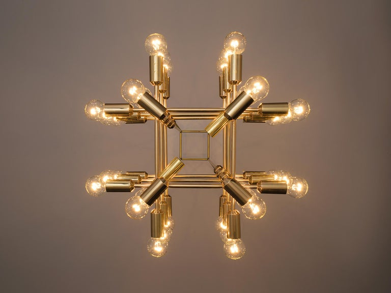 Large Set of Swiss Chandeliers in Brass For Sale 1