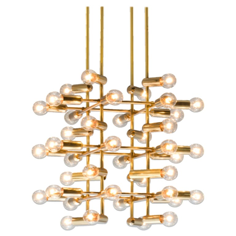 Large Set of Swiss Chandeliers in Brass For Sale