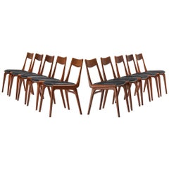 Large Set of Ten 'Boomerang' Chairs in Teak by Alfred Christensen