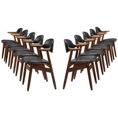 Large Set of Ten Bullhorn Chairs in Teak and Black Leather