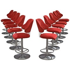 Large Set of Ten Reupholstered Bar Stools in Red Velvet