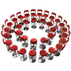 Large set of Thirty-Three Johanson Barstools in Red Velvet.