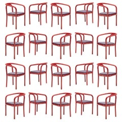 Large Set of Ton Chairs with Red Wooden Frames +75