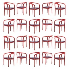 Large Set of TON Dining Chairs with Red Wooden Frames