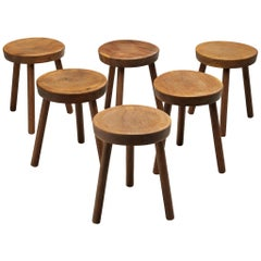 Large Set of Tripod Stools in Solid Oak