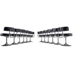 Large Set of Twelve Black Leatherette Johanson Barstools