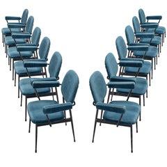 Large Set of Twelve Blue Velvet Italian Chairs