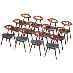Large Set of Twelve Ejvind A. Johansson 'Eye' Dining Chairs