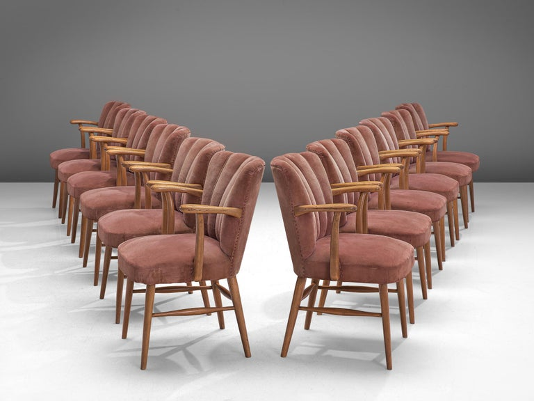 Large Set of Twenty-Four Armchairs in Soft Rose Velvet In Good Condition For Sale In Waalwijk, NL