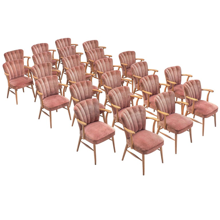 Large Set of Twenty-Four Armchairs in Soft Rose Velvet For Sale