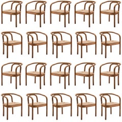 Large Set of +70 Bentwood Dining Chairs by Ton, 1960s