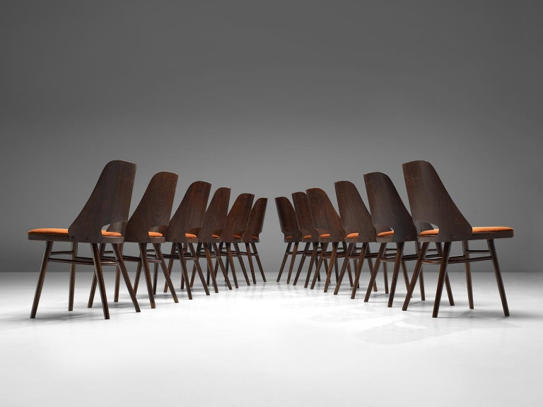 European Large Set of Twenty-Four Bentwood Dining Chairs with Coral Upholstery For Sale