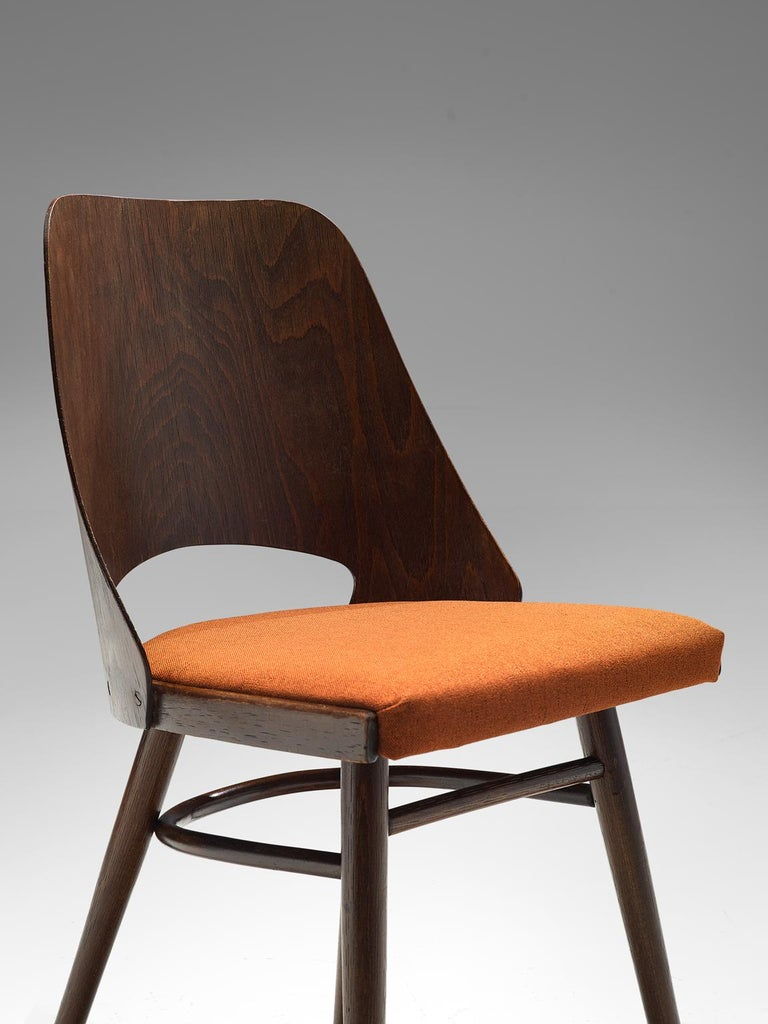 Mid-20th Century Large Set of Twenty-Four Bentwood Dining Chairs with Coral Upholstery For Sale