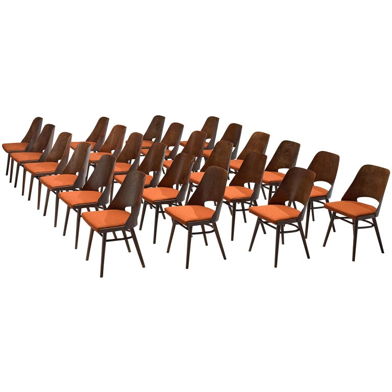 Large Set of Twenty-Four Bentwood Dining Chairs with Coral Upholstery For Sale