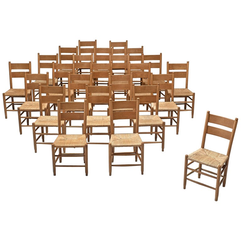 Large Set of Twenty-Four Danish Church Chairs For Sale
