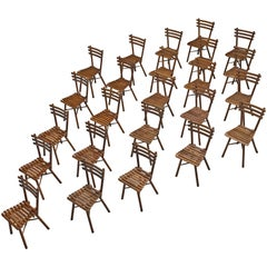 Large Set of Twenty-Four Thonet Chairs in Beech