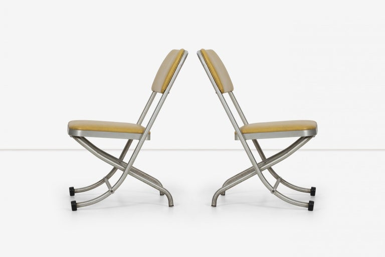 Mid-20th Century Large Set of Warren McCarthur Chairs Aluminum Folding Chairs For Sale