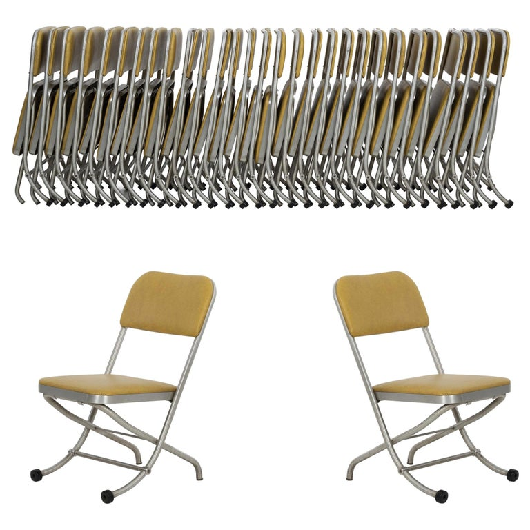 Large Set of Warren McCarthur Chairs Aluminum Folding Chairs For Sale