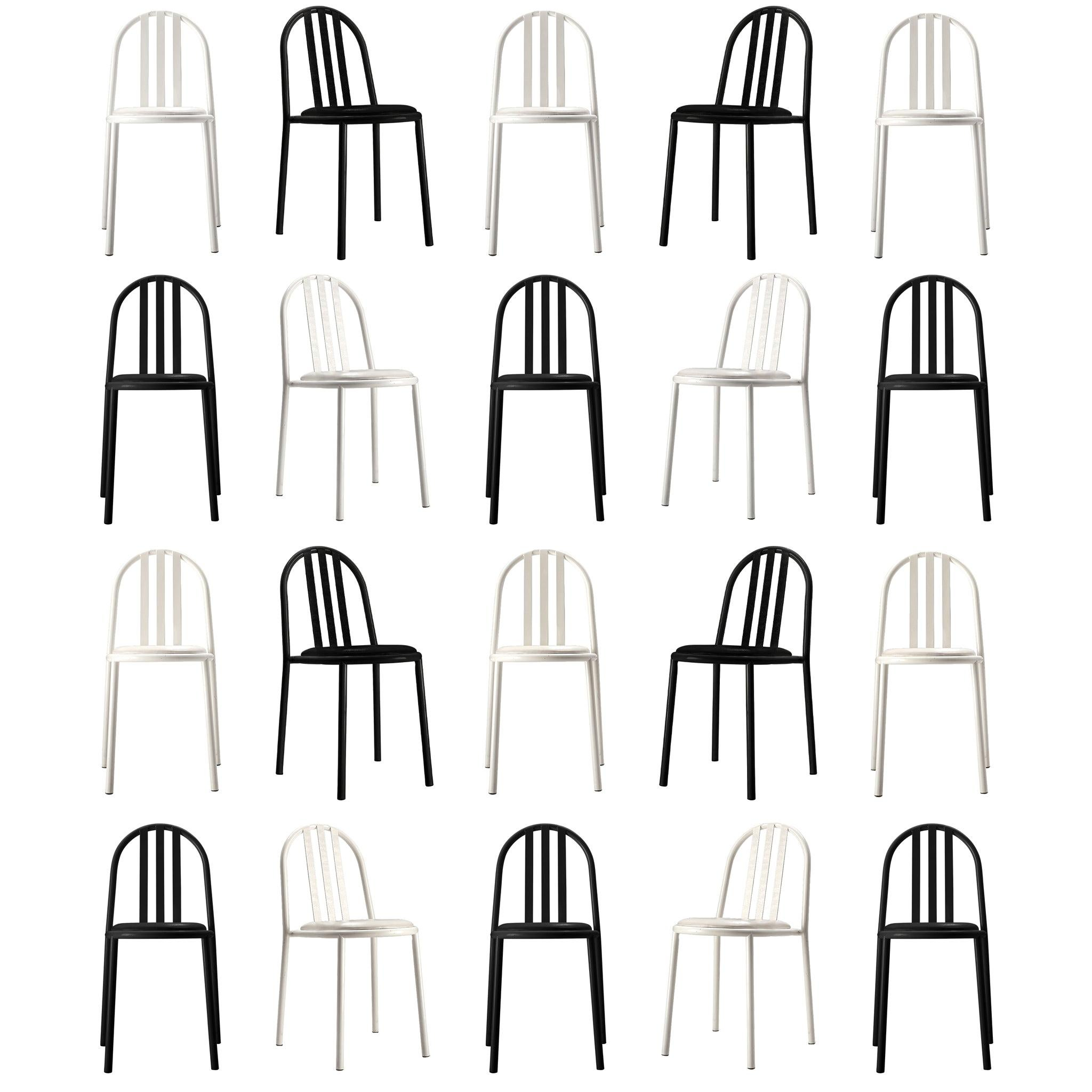 Large Set of White and Black Tubular Steel Chairs by Robert Mallet Stevens