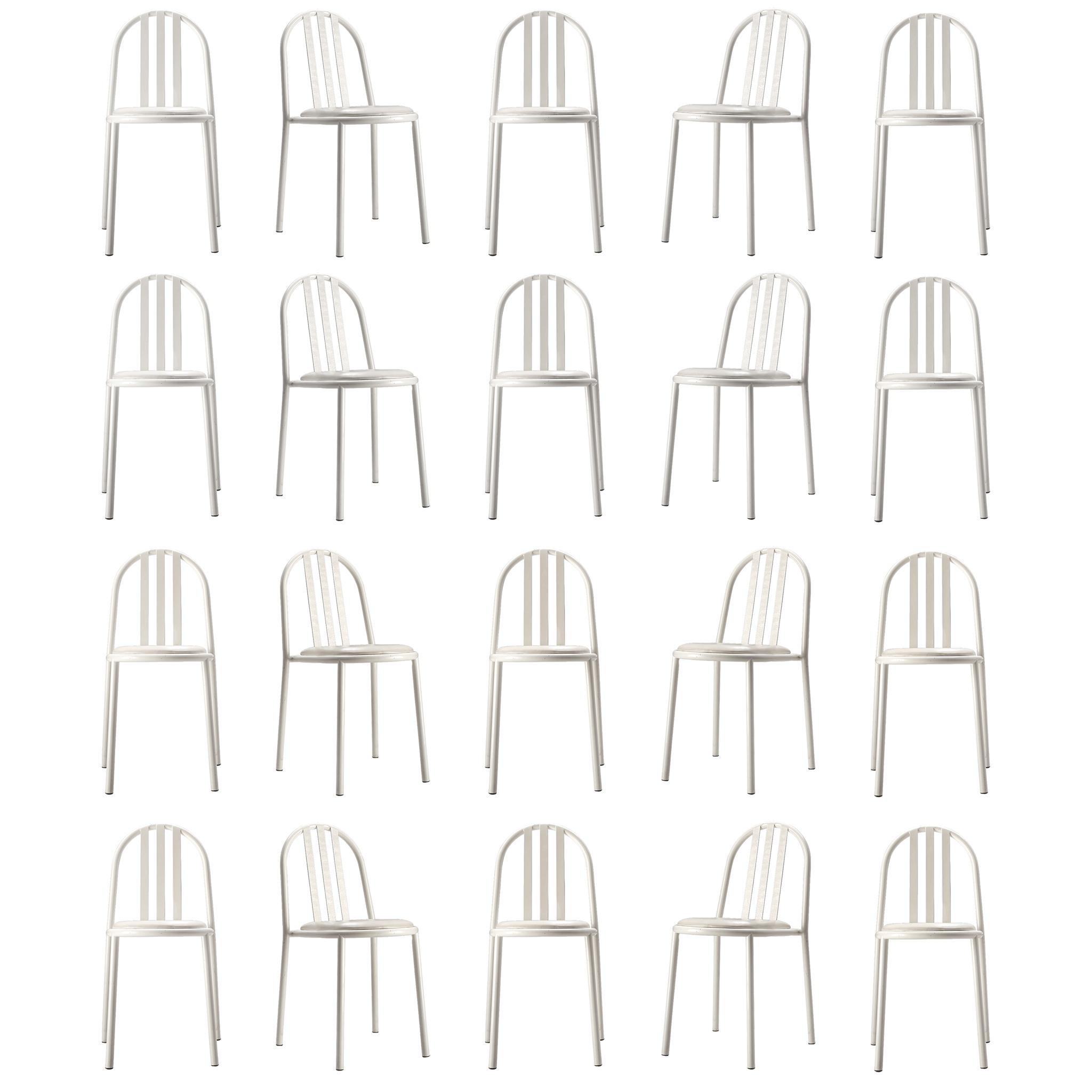 Large Set of White Tubular Steel Chairs by Robert Mallet Stevens