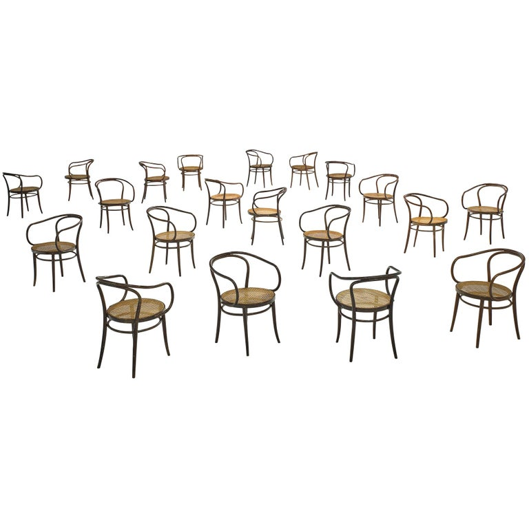 Large Set of Twenty Bentwood Armchairs by Ton, 1960s For Sale