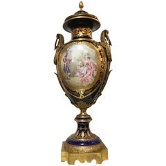 Large Sevres Cobalt Urn, 19th Century