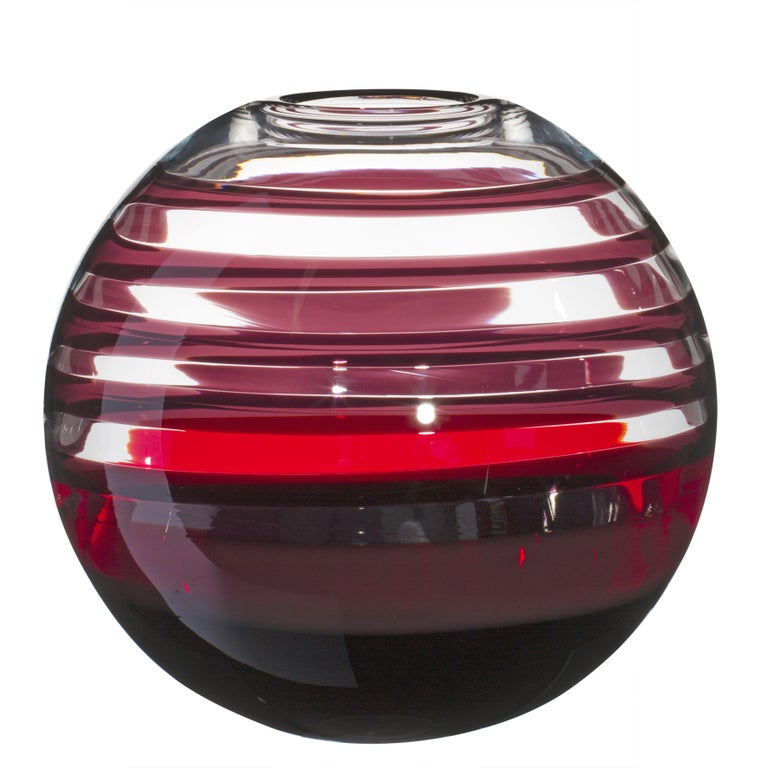 Large Sfera Vase in Black and Red Streaks by Carlo Moretti For Sale