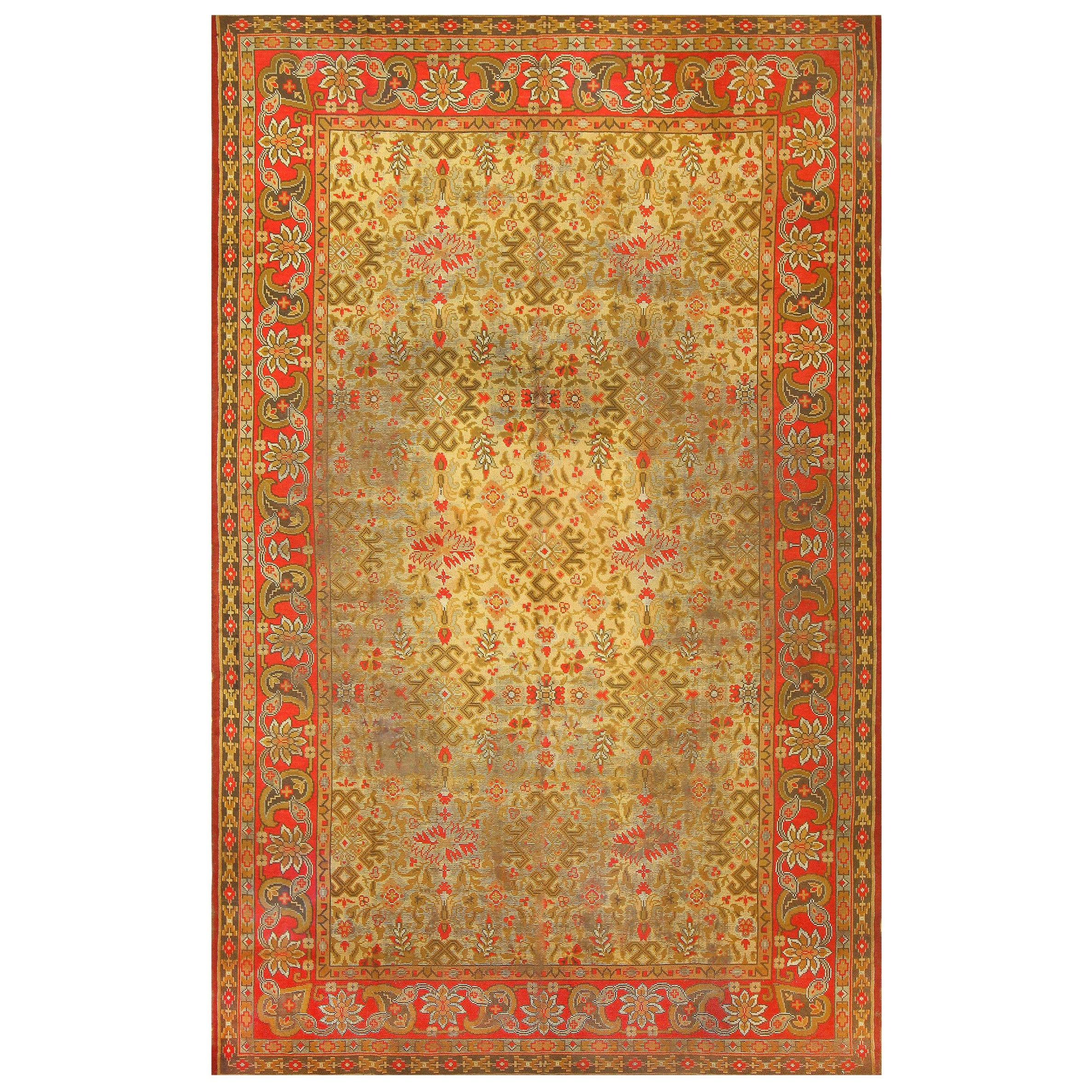 Large Shabby Chic Antique Irish Donegal Carpet. Size: 11 ft 6 in x 18 ft 3 in
