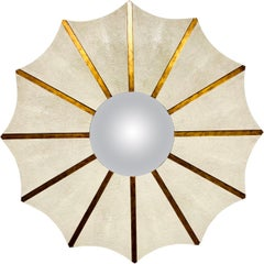 Large Shagreen Leather Round Startburst Convex Mirror