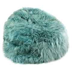 Large Sheepskin Bean Bag Chair, Aqua Shaggy Fur Long Wool Made in Australia
