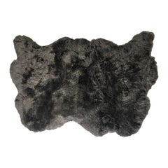 Large Sheepskin Throw Rug for Bed, Sofa or Floor, Grey Short Wool