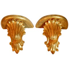Large Shell Form Wall Brackets, Pair
