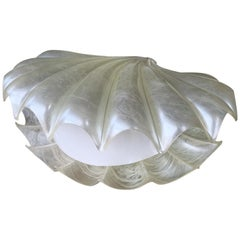 Large Shell Lamp Pearl Resin Brass by Maison Rougier, France, 1970s