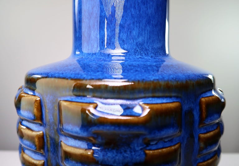 Large Shiny Blue Danish Modern Stoneware Lamp by Johansen for Soholm, 1960s In Good Condition For Sale In Frederiksberg, DK