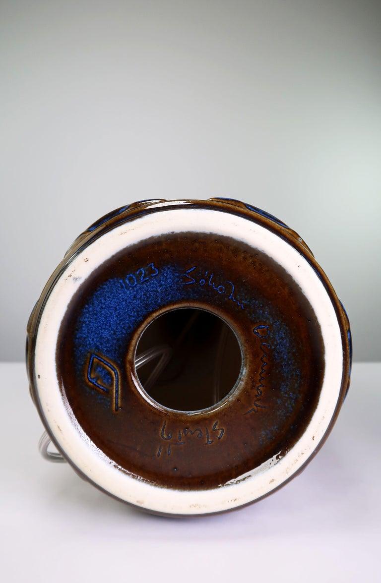 Large Shiny Blue Danish Modern Stoneware Lamp by Johansen for Soholm, 1960s For Sale 2