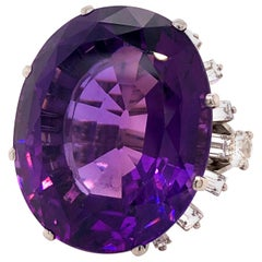 Large Siberian Amethyst and Diamond Cocktail Ring