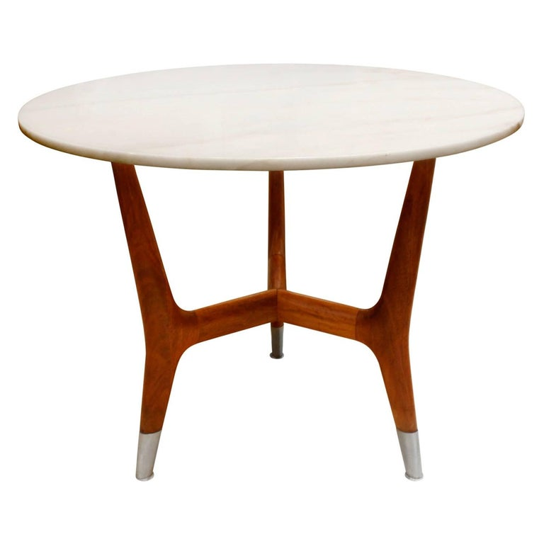 Large Side Table with Marble Top, Italian, 1950s